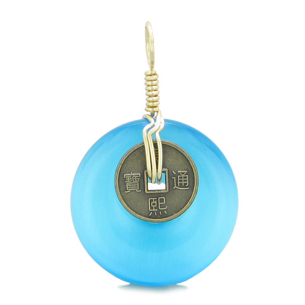 Lucky Coin Donut Gold-Tone Good Luck Powers Fortune Amulet Sky Blue Simulated Cats Eye Pendant