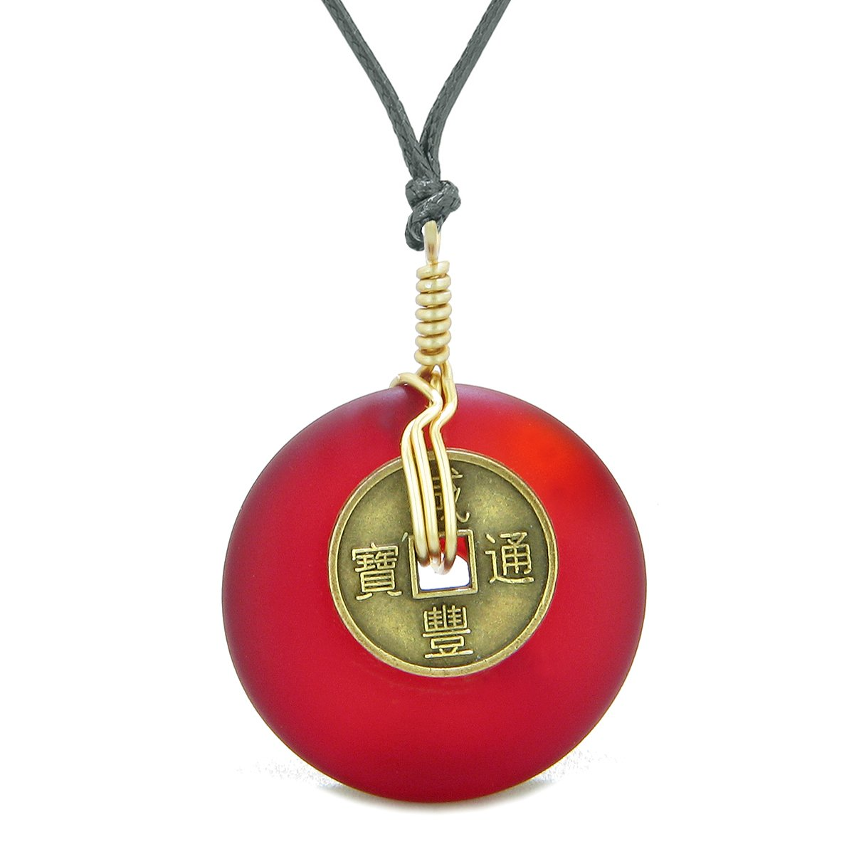 Lucky Coin Donut Sea Glass Gold-Tone Positive Energy Fortune Amulet Royal Red Unique Necklace