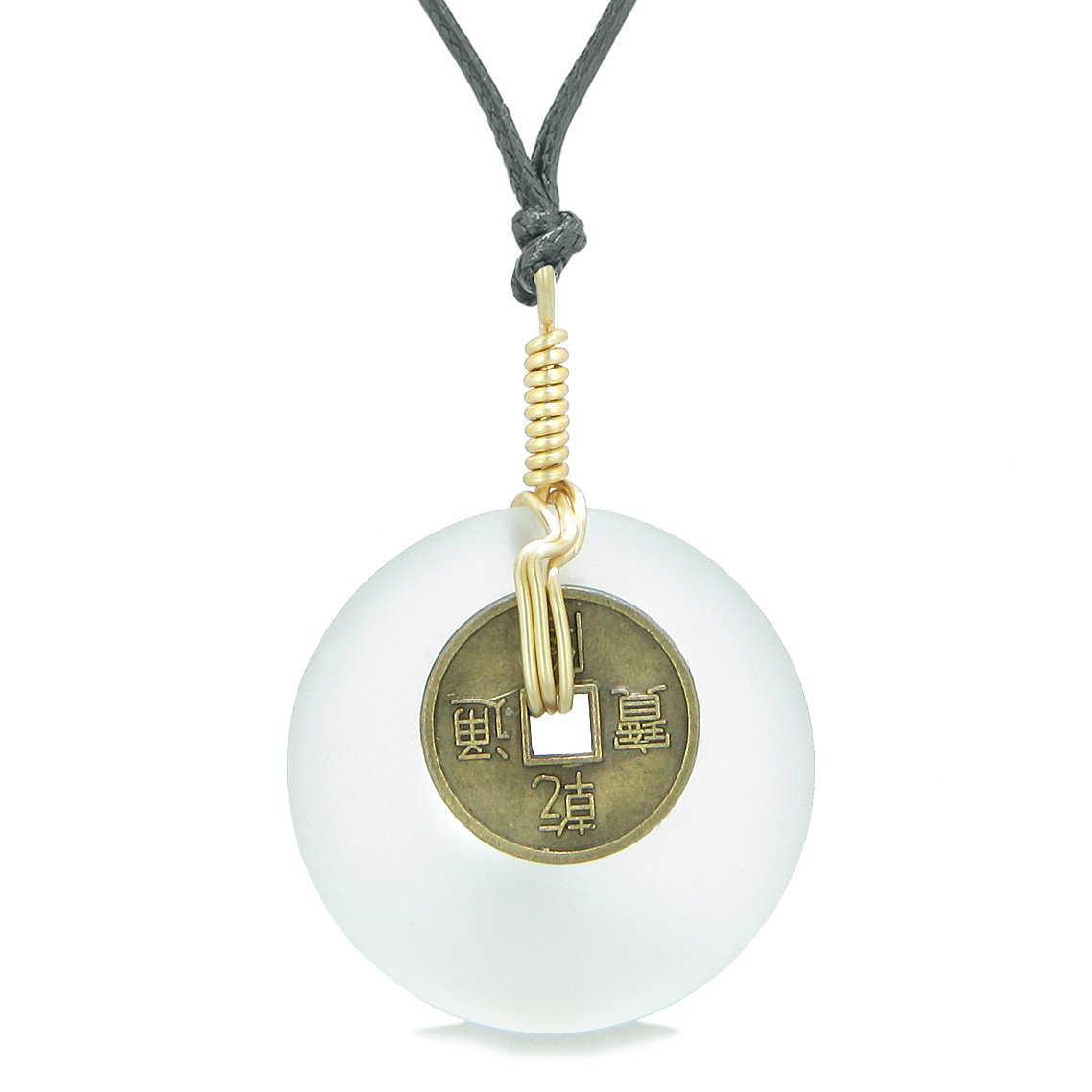 Lucky Coin Donut Sea Glass Gold-Tone Positive Energy Fortune Amulet Snow White Unique Necklace
