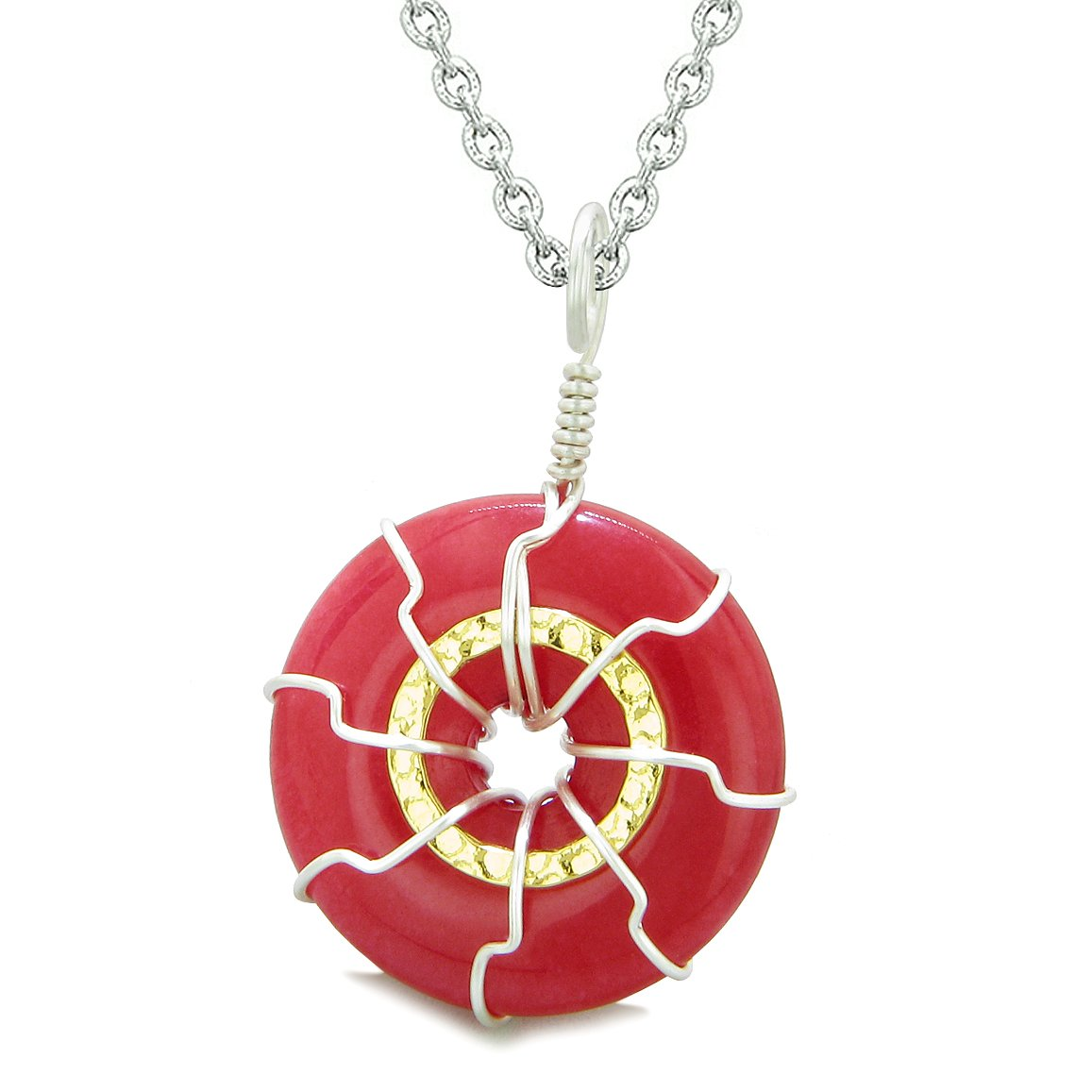 Positive Energy Sun Eternity Circle Gold-Silver-Tone Cherry Red Quartz Donut Amulet 22 Inch Necklace