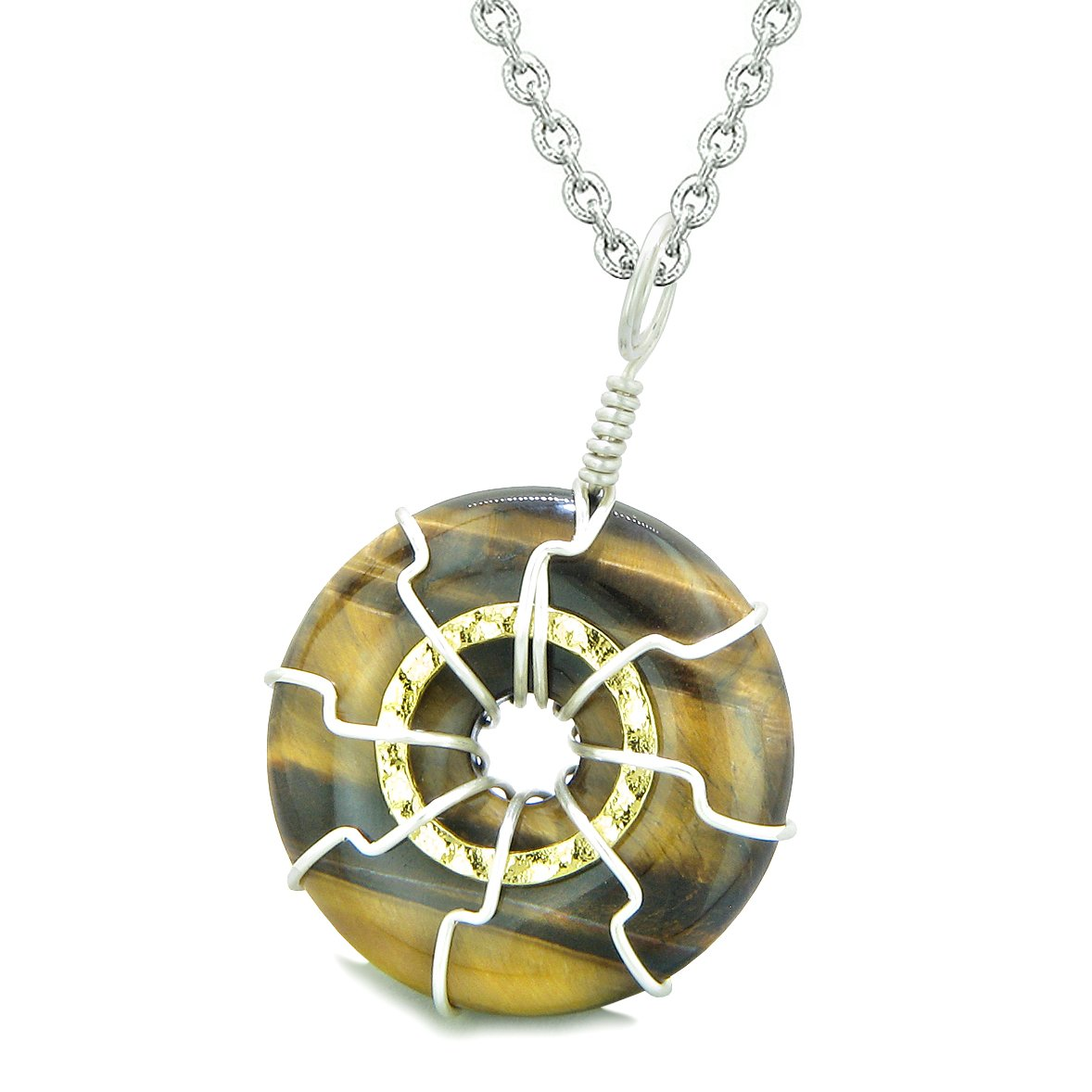 Positive Energy Sun Eternity Circle Gold-Silver-Tone Tiger Eye Donut Amulet 18 Inch Necklace