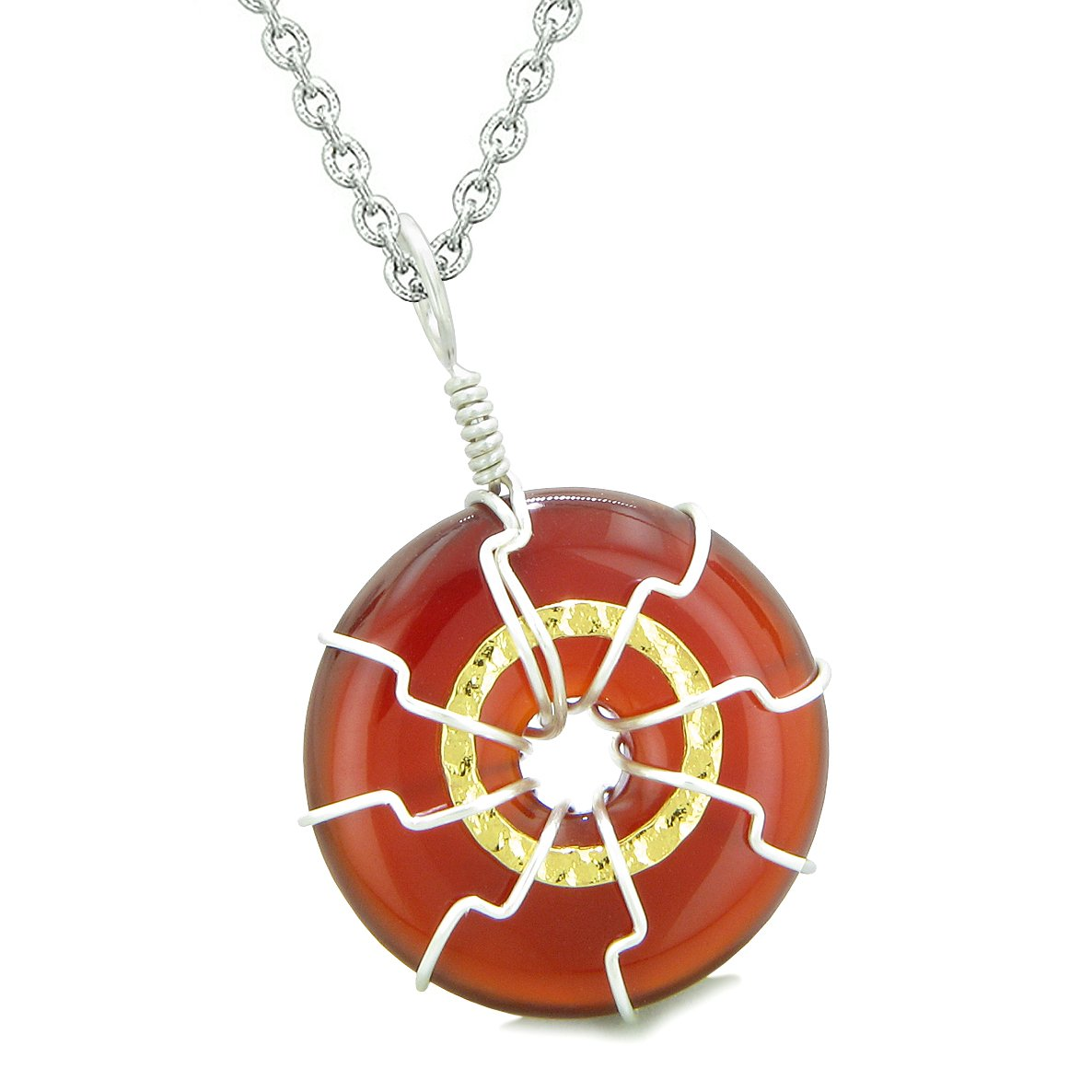 Positive Energy Sun Eternity Circle Gold-Silver-Tone Carnelian Donut Amulet 18 Inch Necklace