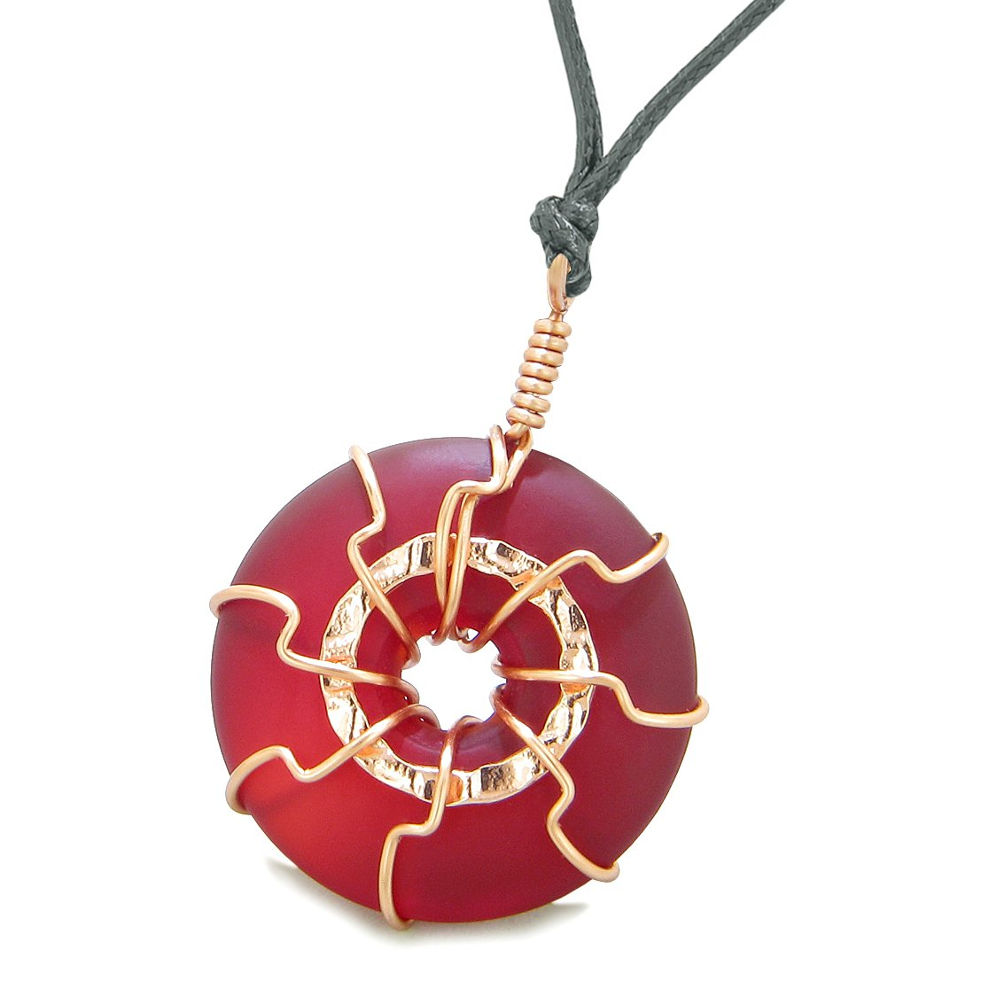 Positive Energy Sun Eternity Circle Rose-Gold-Tone Royal Red Sea Glass Donut Amulet Necklace