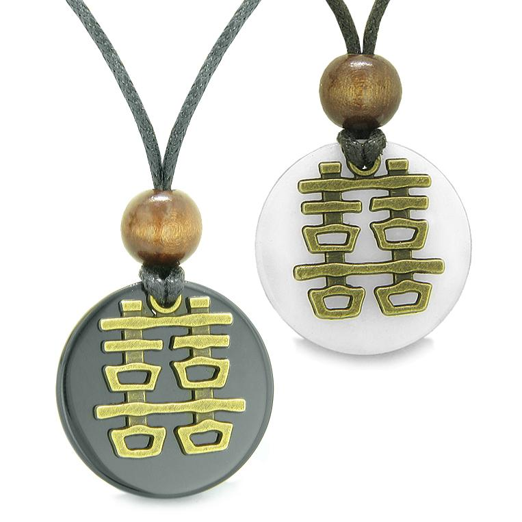 Double Happiness Love Couples Yin Yang Fortune Amulets Agate White Quartz Medallion Necklaces