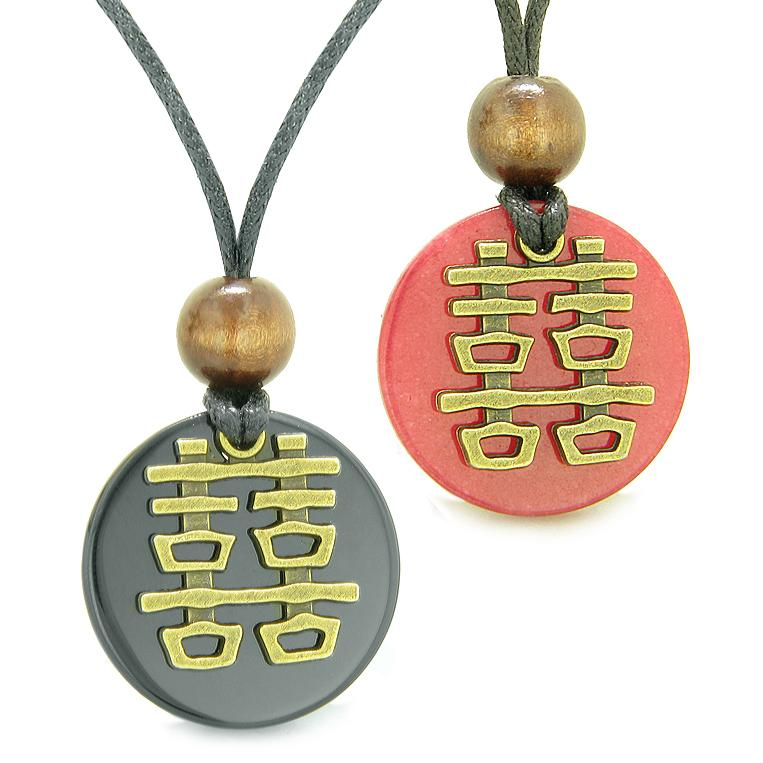 Double Happiness Love Couples Yin Yang Powers Fortune Amulets Agate Red Quartz Medallion Necklaces