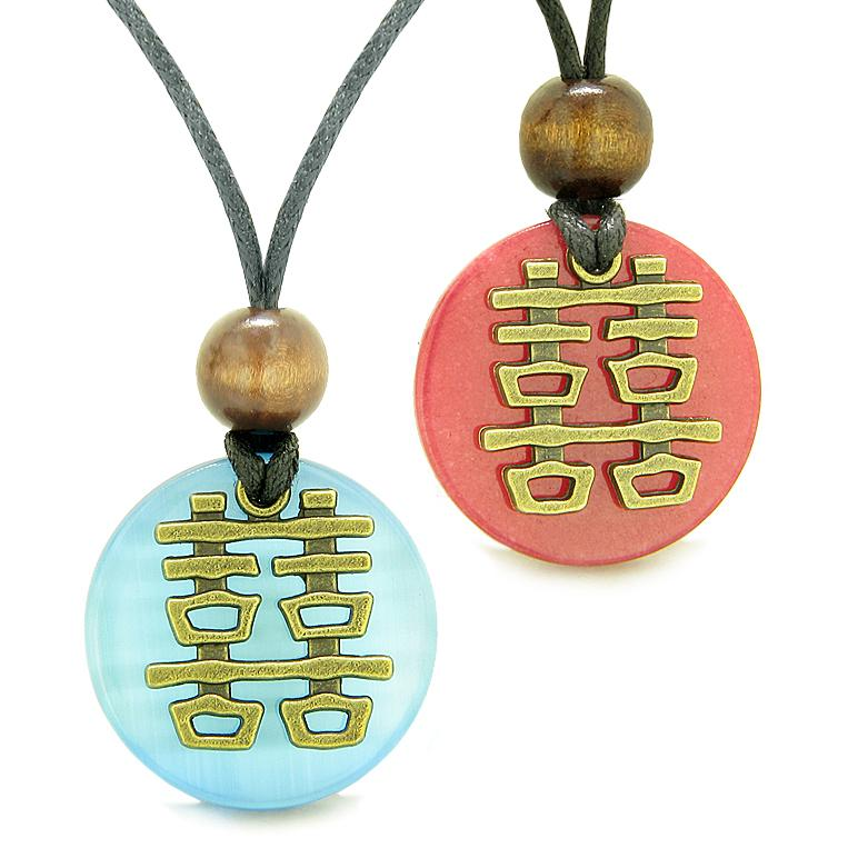 Double Happiness Love Couples Yin Yang Powers Fortune Amulets Blue Cats Eye Red Quartz Necklaces