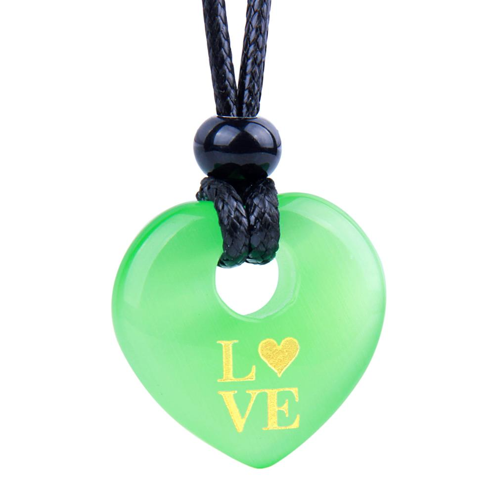 Magic Inspirational Lucky Heart Donut Charm Love Powers Neon Green Simulated Cats Eye Necklace