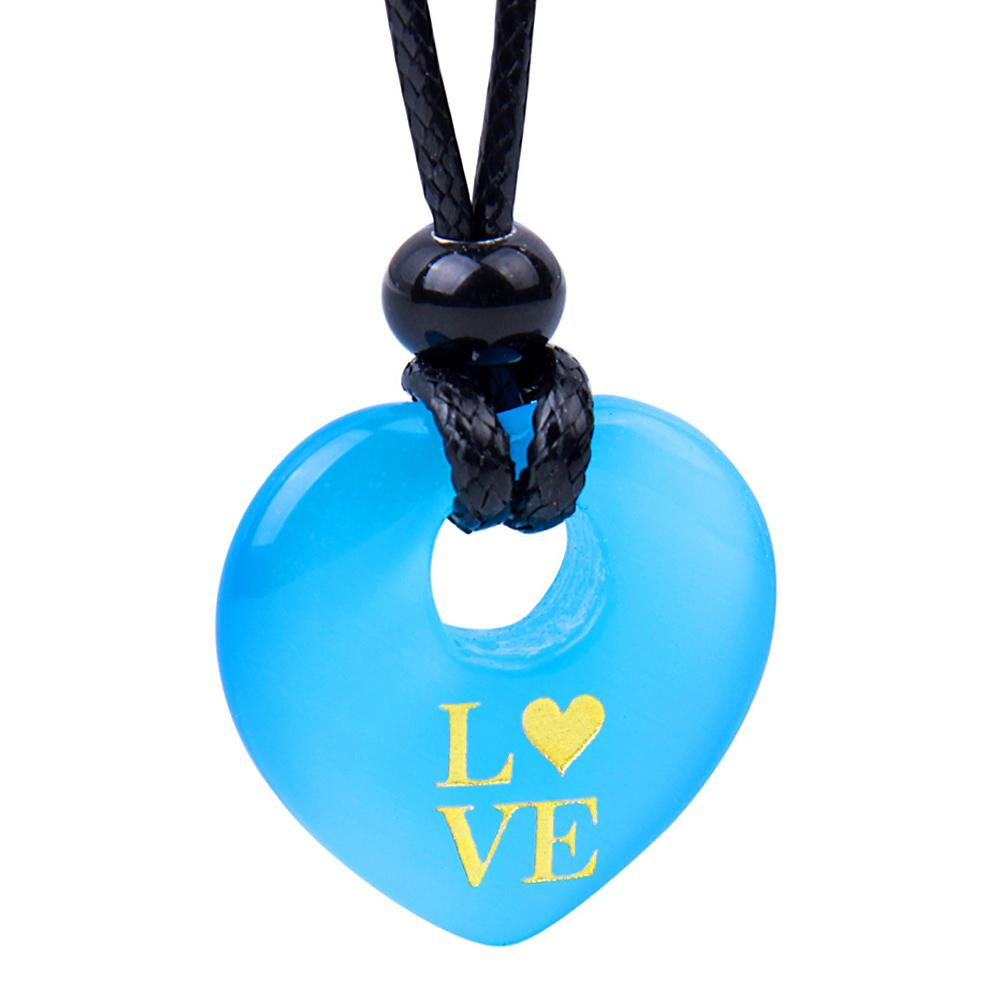 Magic Inspirational Lucky Heart Donut Charm Love Powers Sky Blue Simulated Cats Eye Necklace