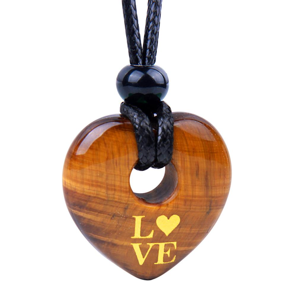 Magic Inspirational Lucky Heart Donut Charm Love Powers Tiger Eye Necklace