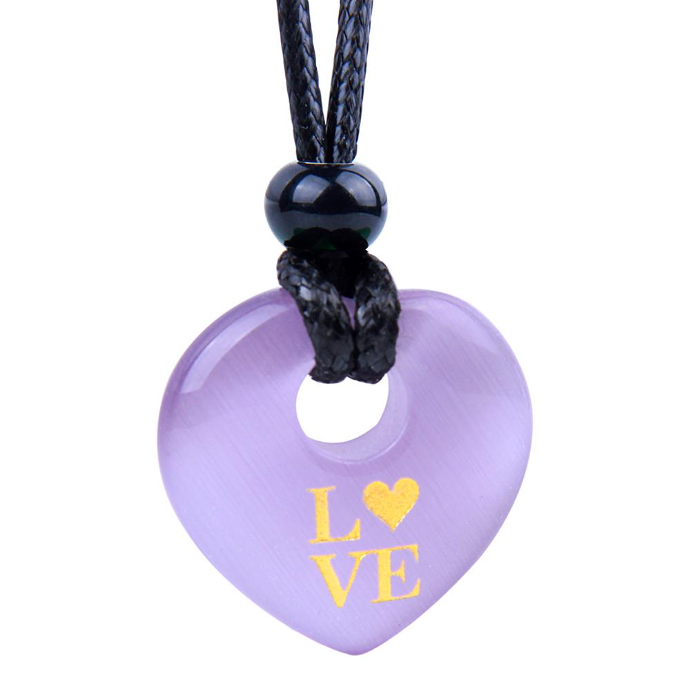 Magic Inspirational Lucky Heart Donut Charm Love Powers Cute Purple Simulated Cats Eye Necklace