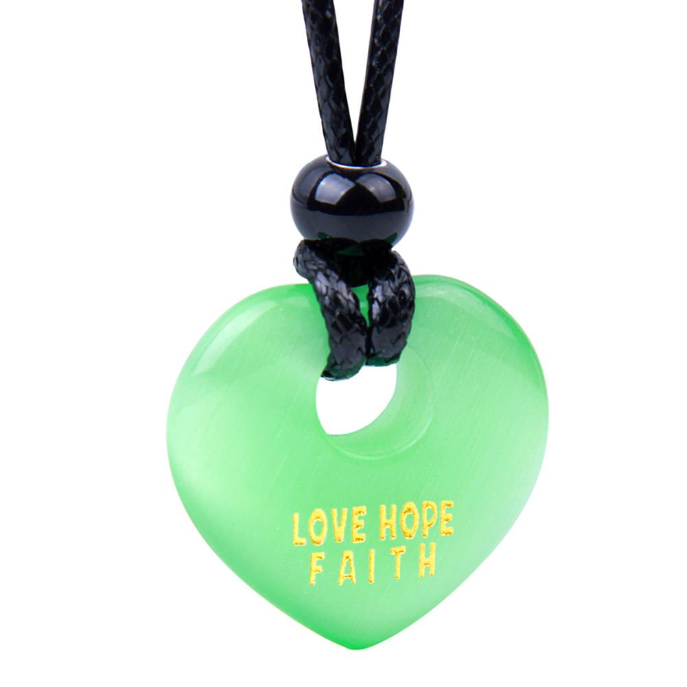 Magic Inspirational Lucky Heart Donut Charm Love Hope Faith Powers Neon Green Simulated Cats Eye Necklace