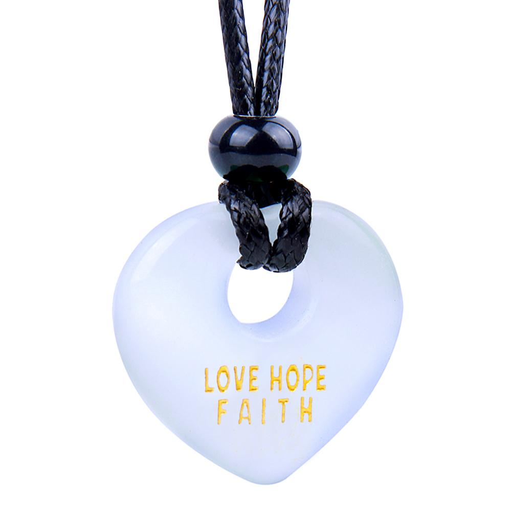 Magic Inspirational Lucky Heart Donut Charm Love Hope Faith Powers White Simulated Cats Eye Necklace