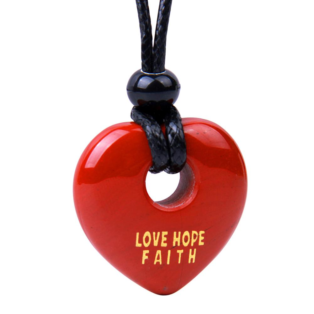 Magic Inspirational Lucky Heart Donut Charm Love Hope Faith Powers Red Jasper Necklace