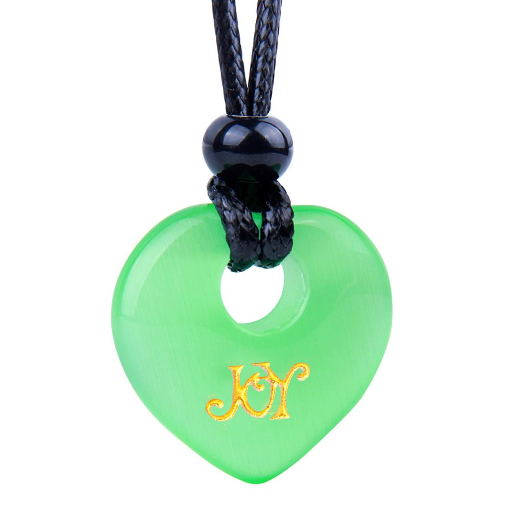 Magic Inspirational Lucky Heart Donut Charm Joy and Love Powers Neon Green Simulated Cats Eye Necklace