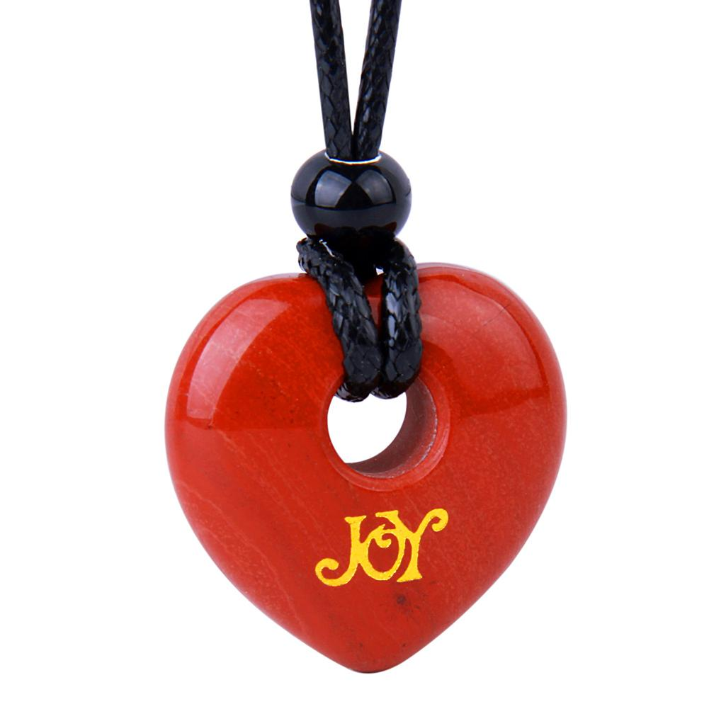 Magic Inspirational Lucky Heart Donut Charm Joy and Love Powers Red Jasper Necklace