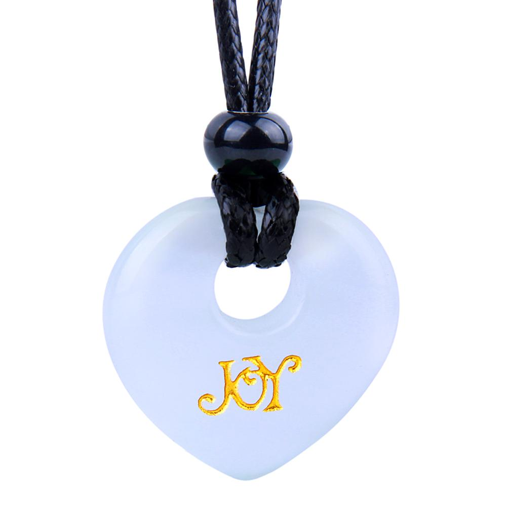 Magic Inspirational Lucky Heart Donut Charm Joy and Love Powers White Simulated Cats Eye Necklace
