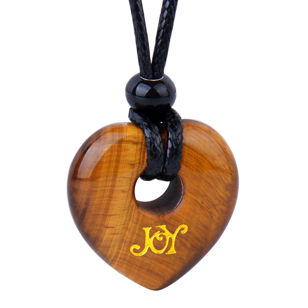 Magic Inspirational Lucky Heart Donut Charm Joy and Love Powers Tiger Eye Necklace