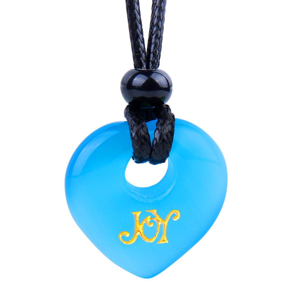 Magic Inspirational Lucky Heart Donut Charm Joy and Love Powers Sky Blue Simulated Cats Eye Necklace