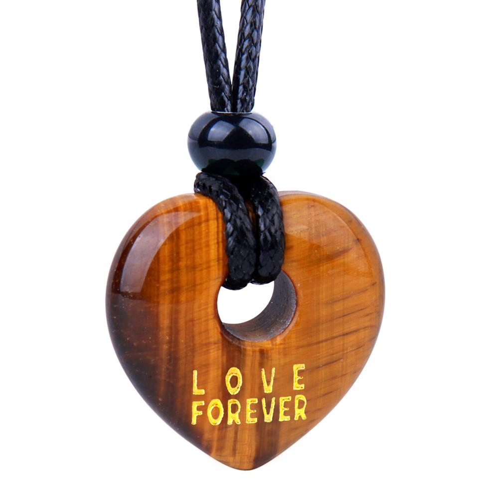 Magic Inspirational Lucky Heart Donut Charm Love Forever Powers Tiger Eye Necklace