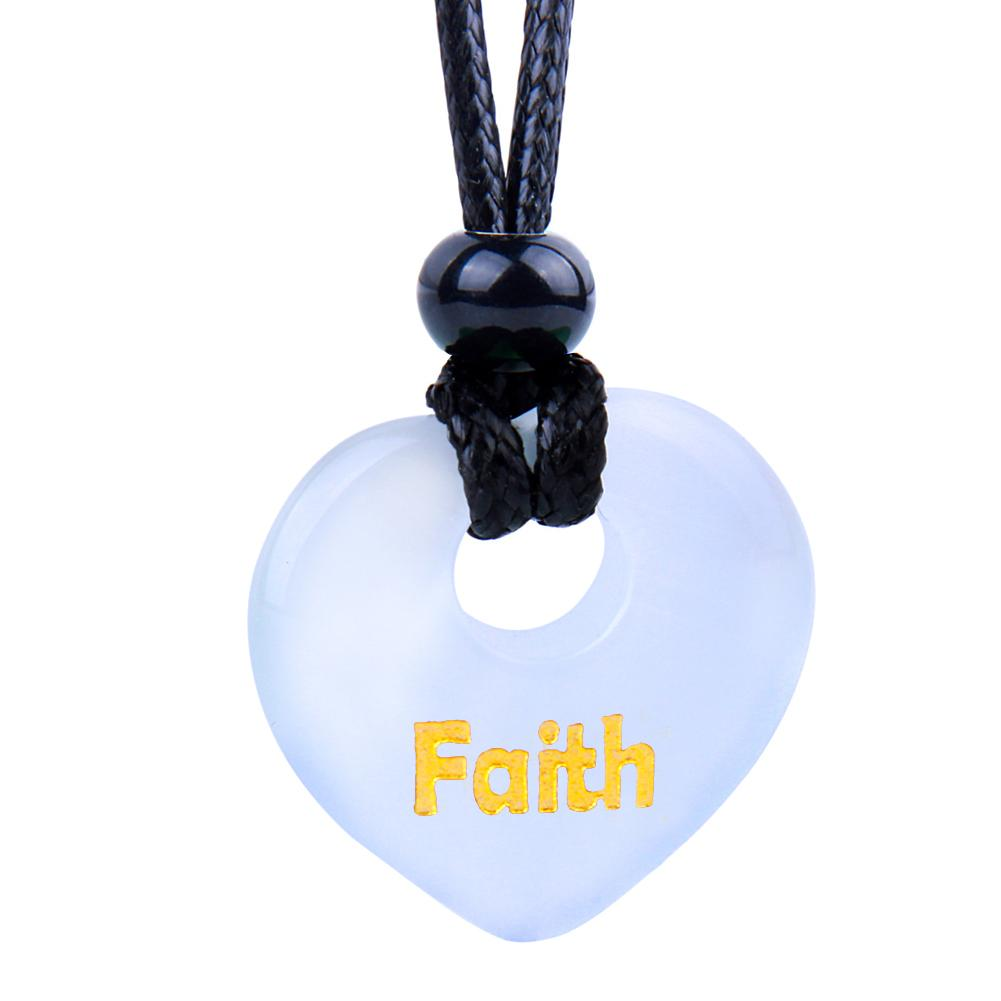 Magic Inspirational Lucky Heart Donut Charm Faith and Love Powers White Simulated Cats Eye Necklace