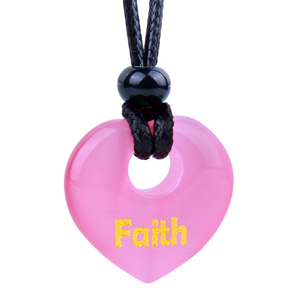 Magic Inspirational Lucky Heart Donut Charm Faith and Love Powers Cute Pink Simulated Cats Eye Necklace