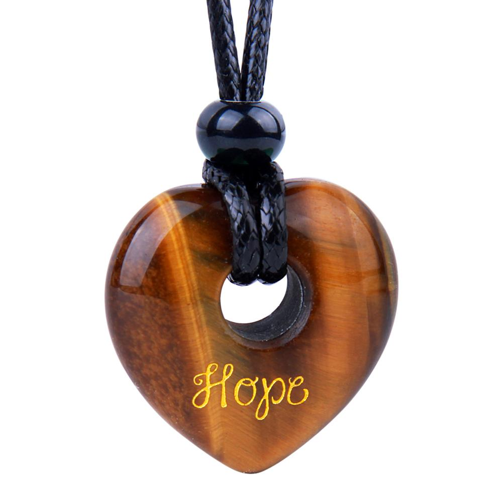 Magic Inspirational Lucky Heart Donut Charm Hope and Love Powers Tiger Eye Necklace