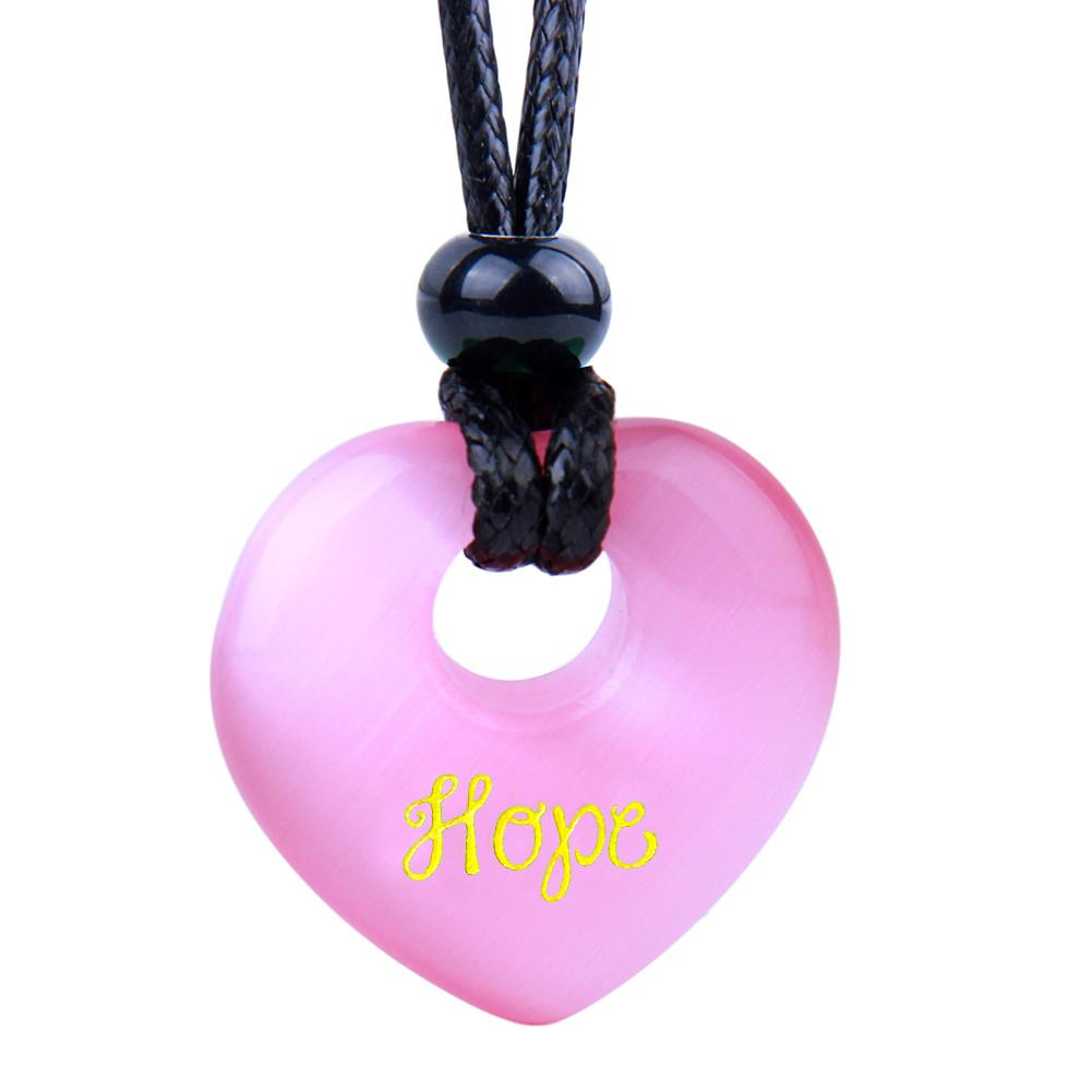 Magic Inspirational Lucky Heart Donut Charm Hope and Love Powers Cute Pink Simulated Cats Eye Necklace