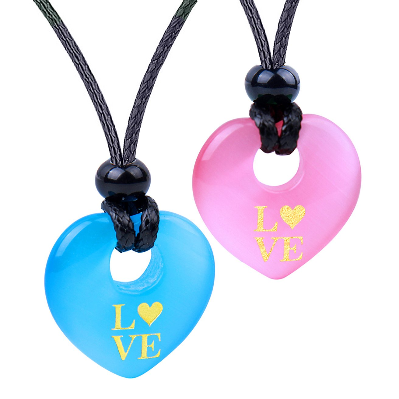 Inspirational Heart Donut Amulets Love Powers Couples BFF Blue Pink Simulated Cats Eye Necklaces