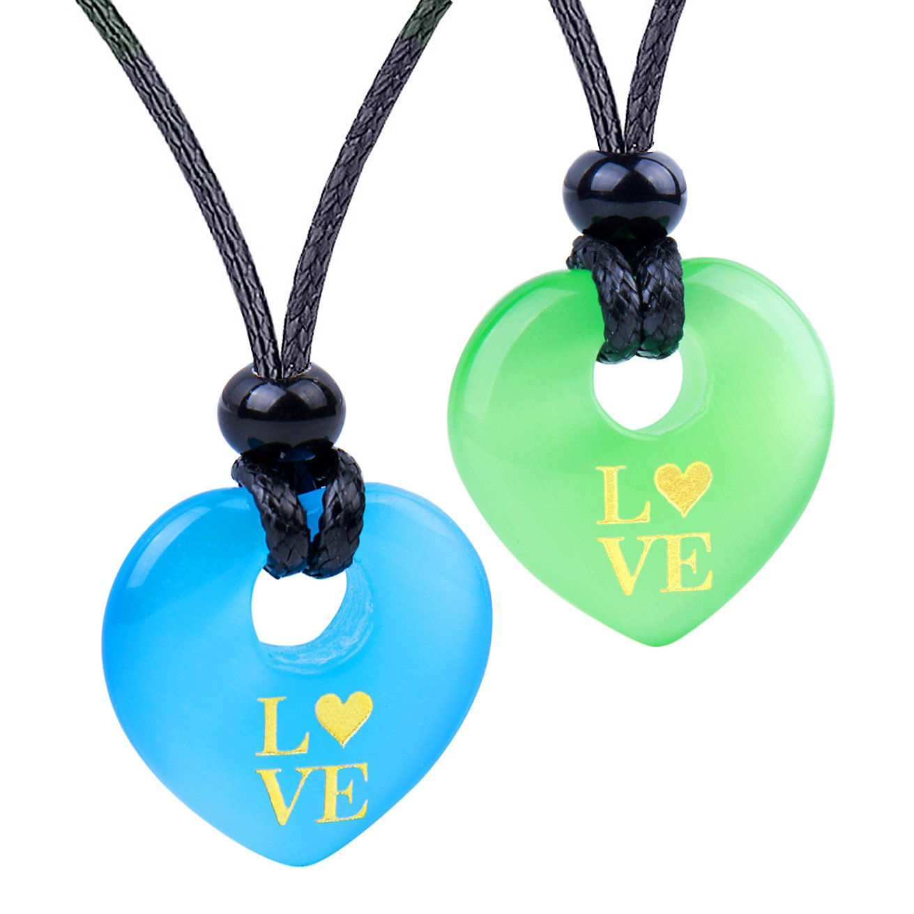 Inspirational Heart Donut Amulets Love Powers Couples BFF Green Blue Simulated Cats Eye Necklaces