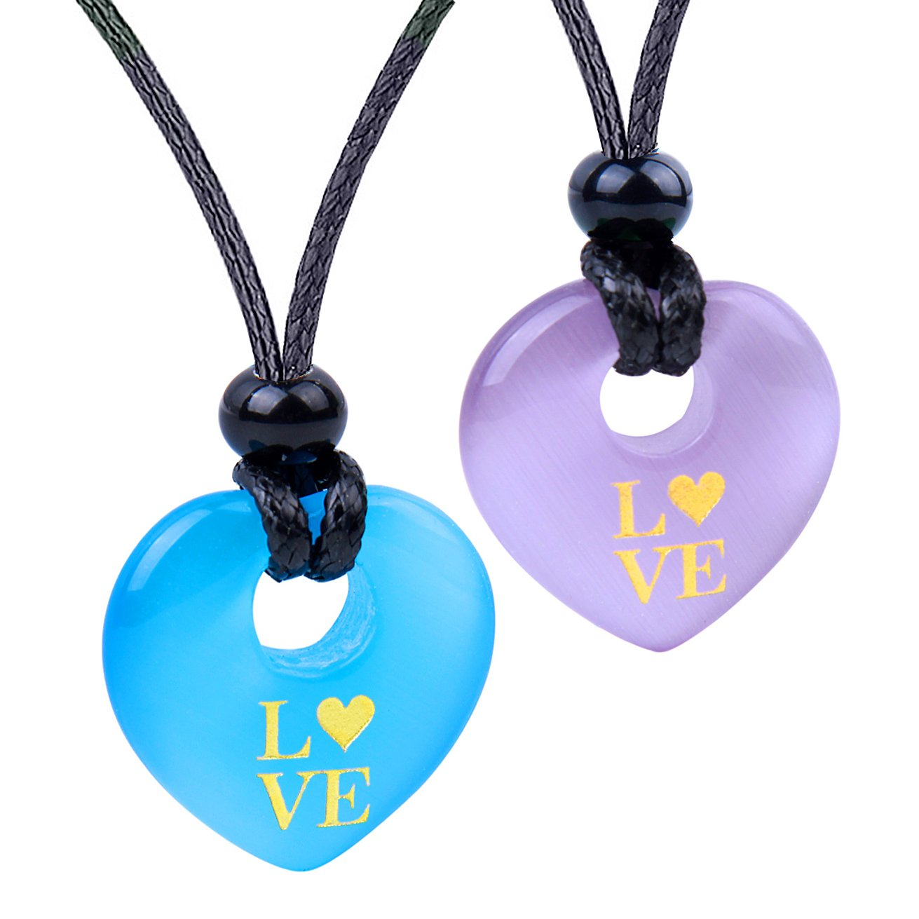 Inspirational Heart Donut Amulets Love Powers Couples BFF Blue Purple Simulated Cats Eye Necklaces