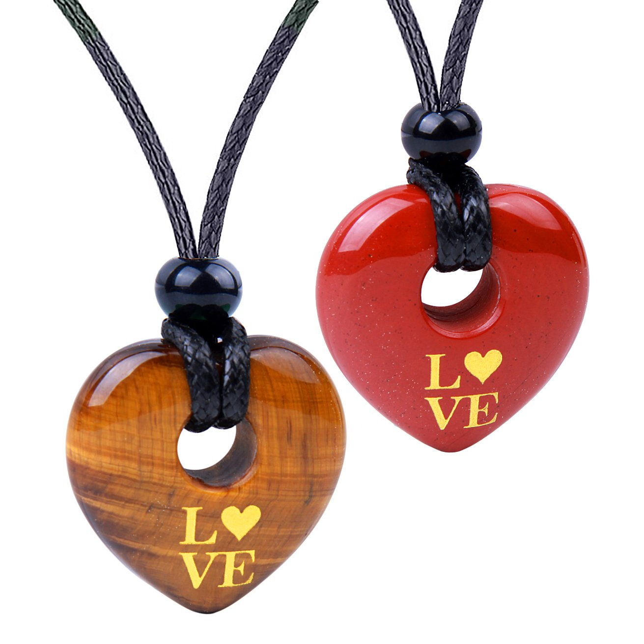 Inspirational Heart Donut Amulets Love Powers Couples BFF Tiger Eye Red Jasper Necklaces
