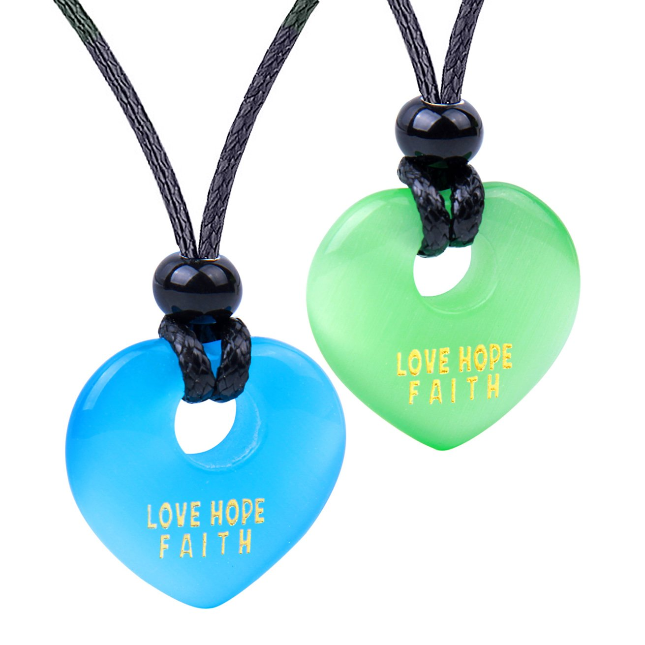 Inspirational Heart Donut Amulet Love Hope Faith Powers Couple BFF Blue Green Simulated Cat Eye Necklaces