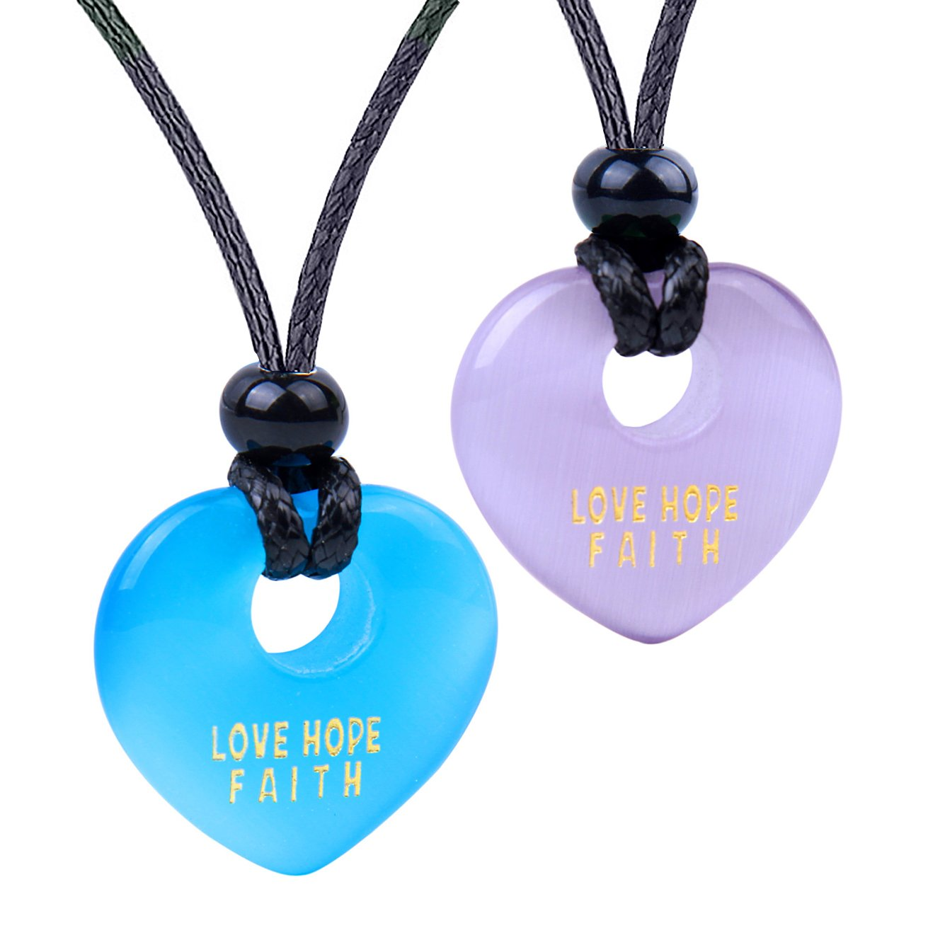 Inspirational Heart Donut Amulet Love Hope Faith Power Couple BFF Purple Blue Simulated Cat Eye Necklaces