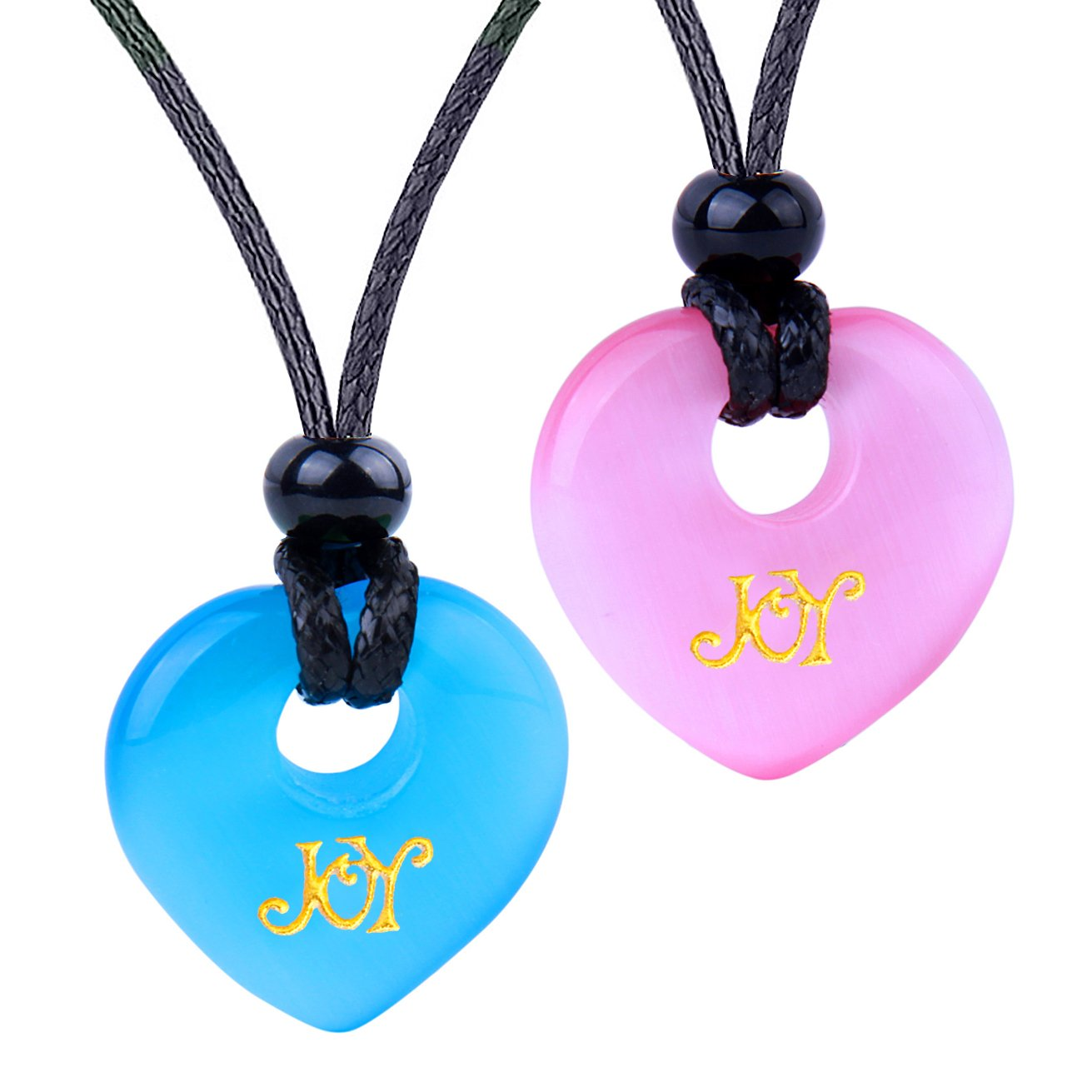Inspirational Heart Donut Amulets Joy and Love Powers Couples BFF Blue Pink Simulated Cats Eye Necklaces