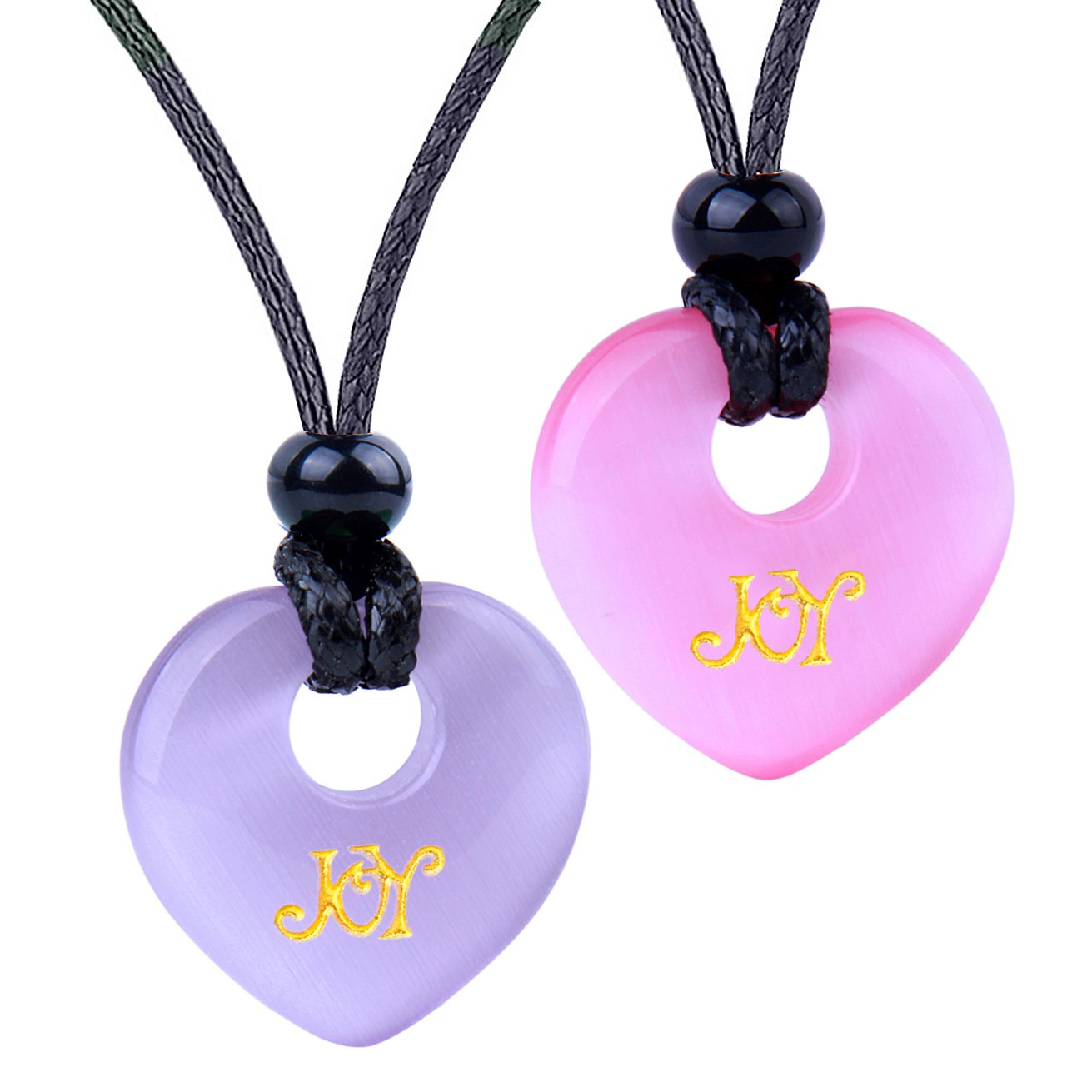 Inspirational Heart Donut Amulets Joy and Love Powers Couples BFF Purple Pink Simulated Cat Eye Necklaces