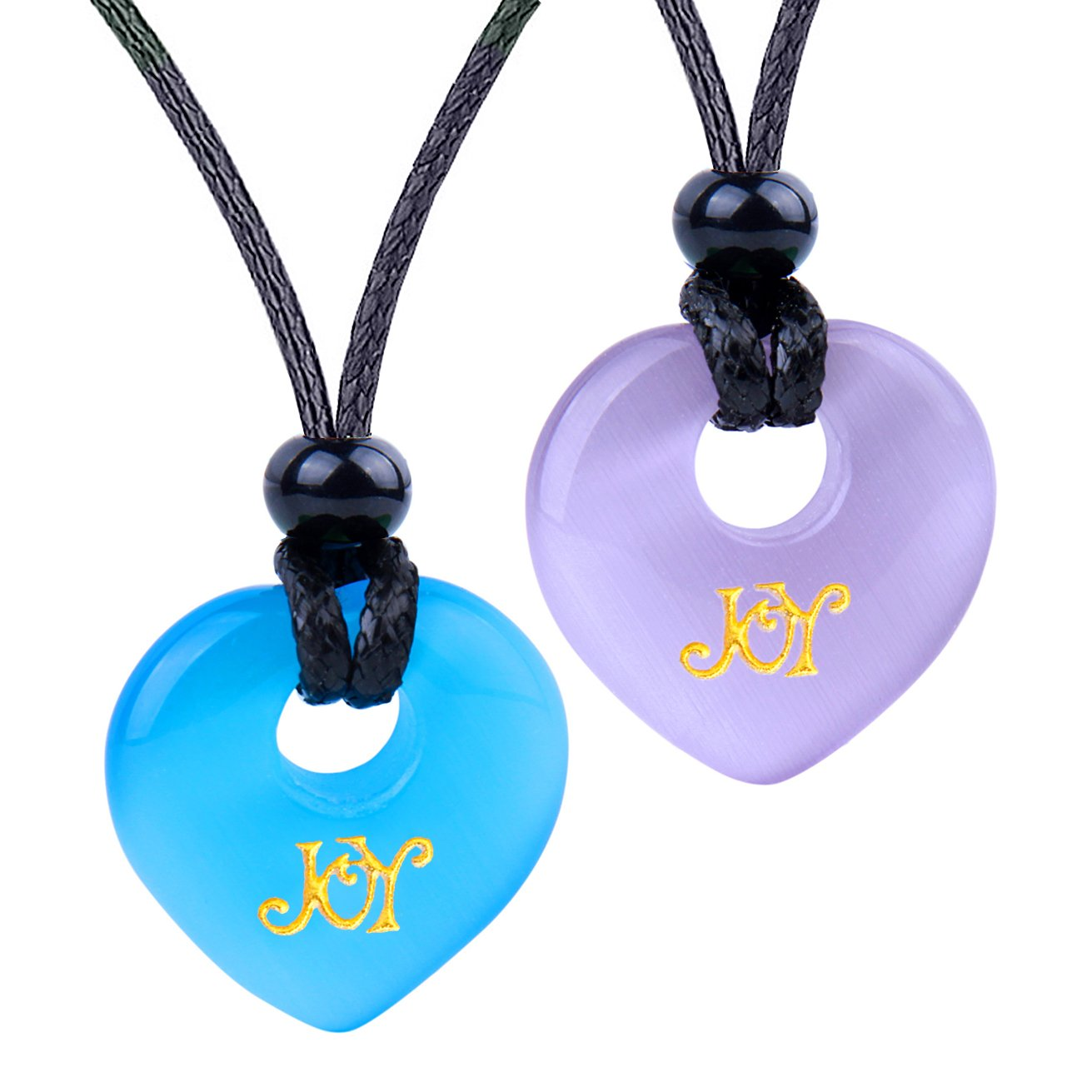 Inspirational Heart Donut Amulets Joy and Love Powers Couples BFF Purple Blue Simulated Cat Eye Necklaces
