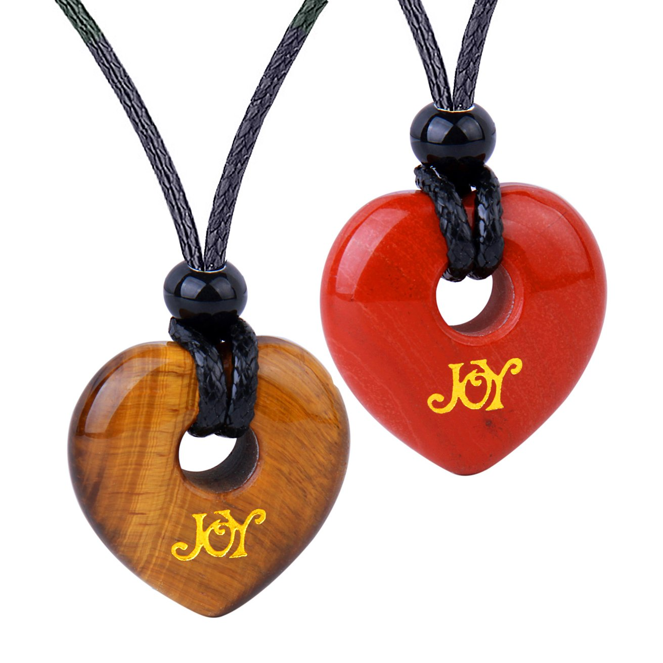 Inspirational Heart Donut Amulets Joy and Love Powers Couples BFF Tiger Eye Red Jasper Necklaces