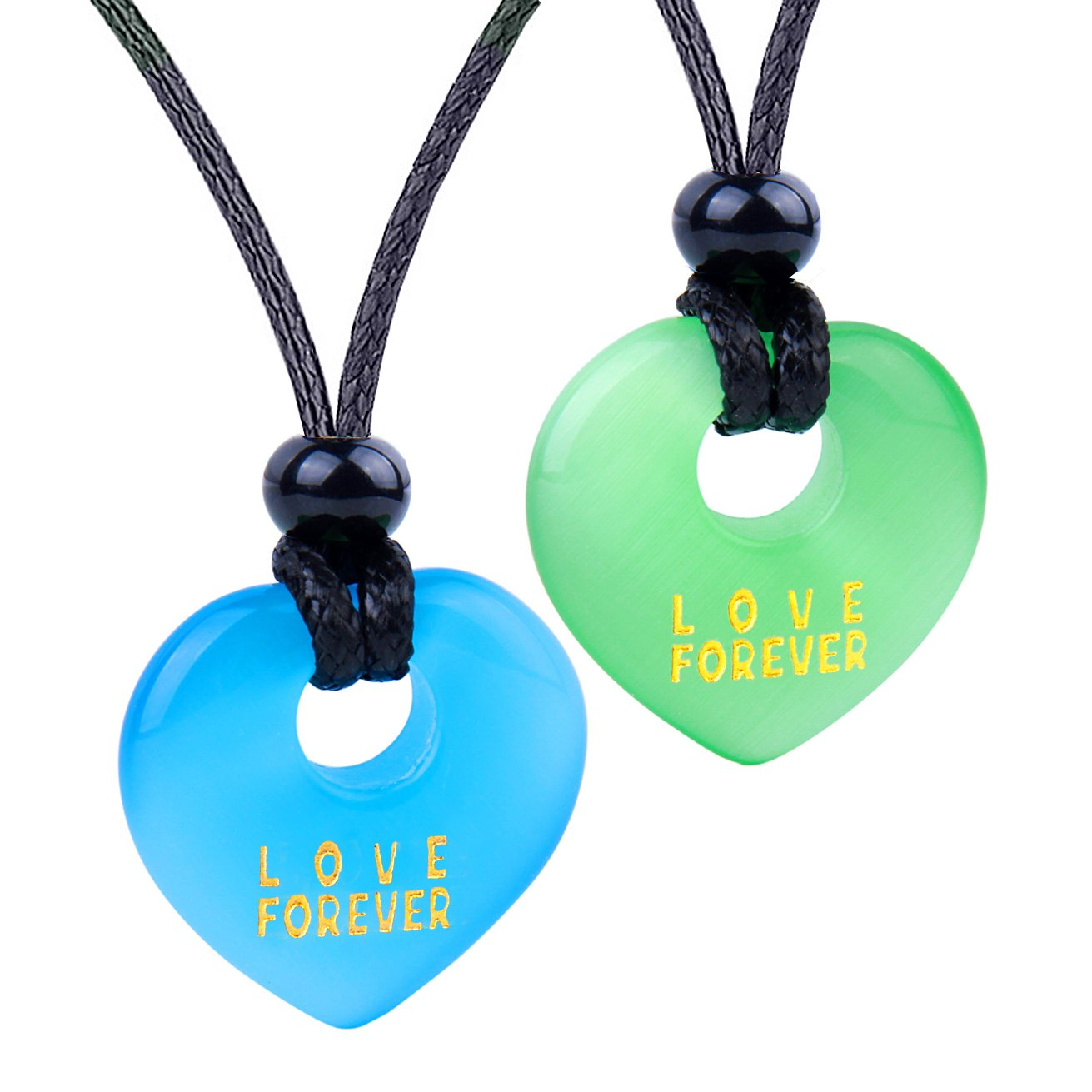 Inspirational Heart Donut Amulets Love Forever Powers Couples BFF Green Blue Simulated Cats Eye Necklaces