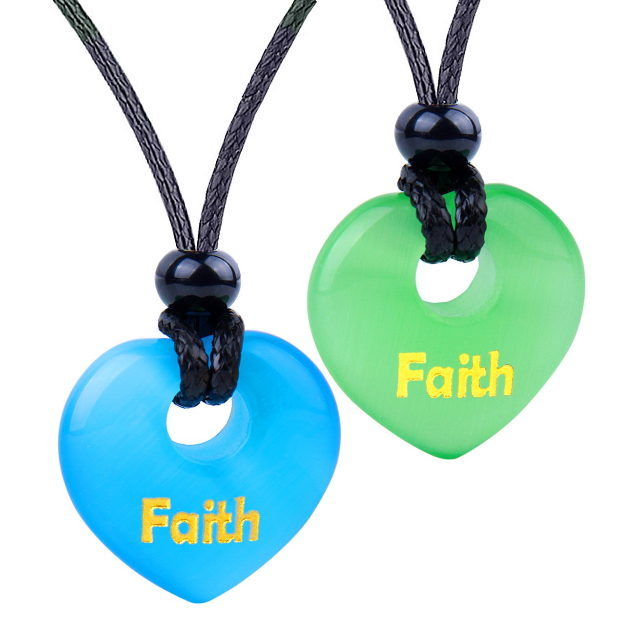 Inspirational Heart Donut Amulets Faith Love Powers Couples BFF Blue Green Simulated Cats Eye Necklaces