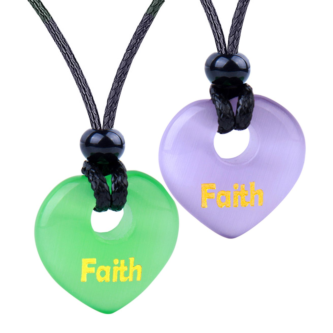 Inspirational Heart Donut Amulets Faith Love Powers Couples BFF Green Purple Simulated Cats Eye Necklaces