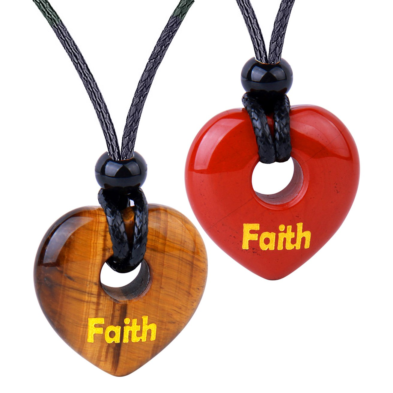 Inspirational Heart Donut Amulets Faith Love Powers Couples BFF Tiger Eye Red Jasper Necklaces