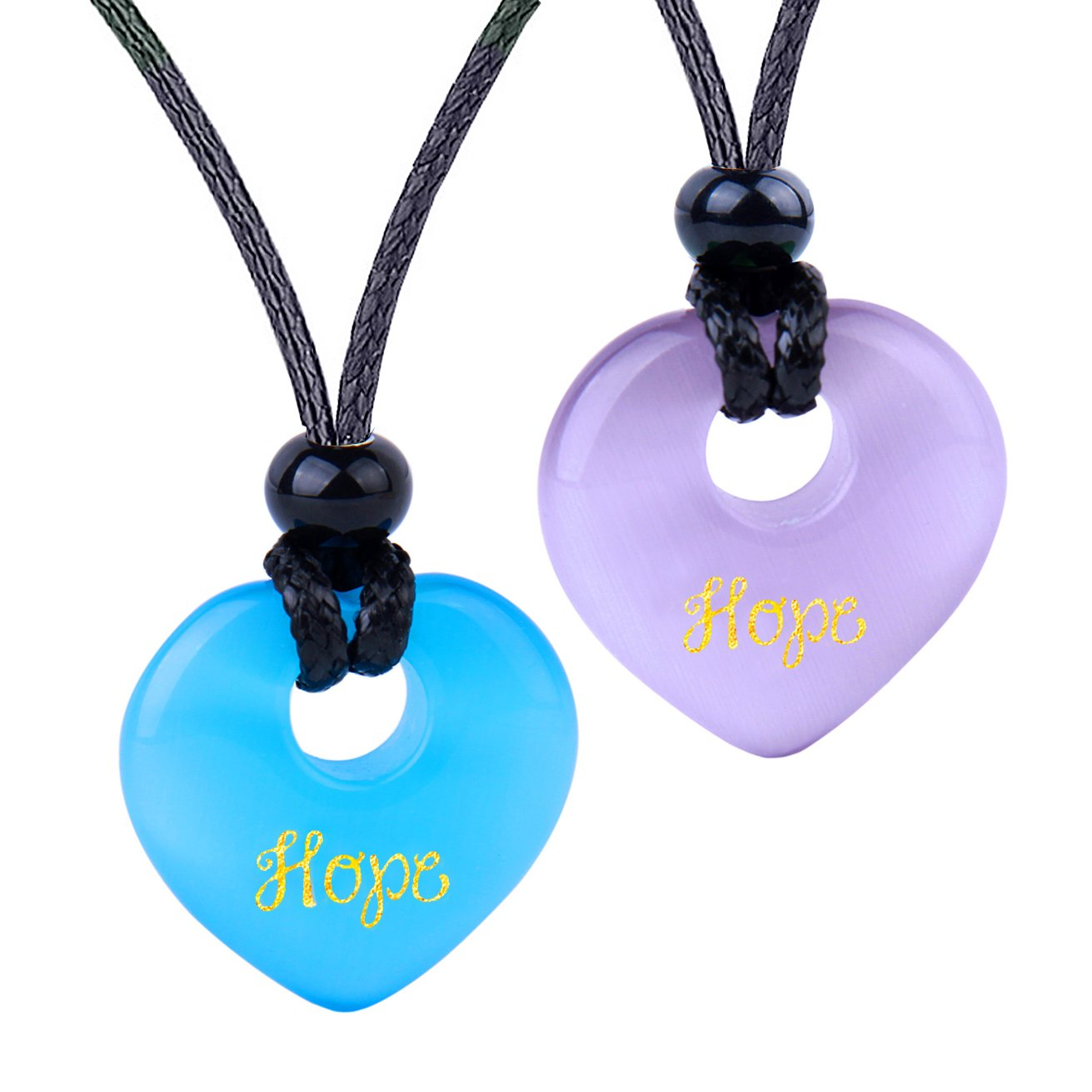 Inspirational Heart Donut Amulets Hope Love Powers Couples BFF Purple Blue Simulated Cats Eye Necklaces