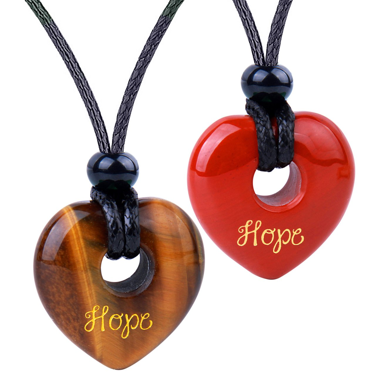 Inspirational Heart Donut Amulets Hope Love Powers Couples BFF Tiger Eye Red Jasper Necklaces