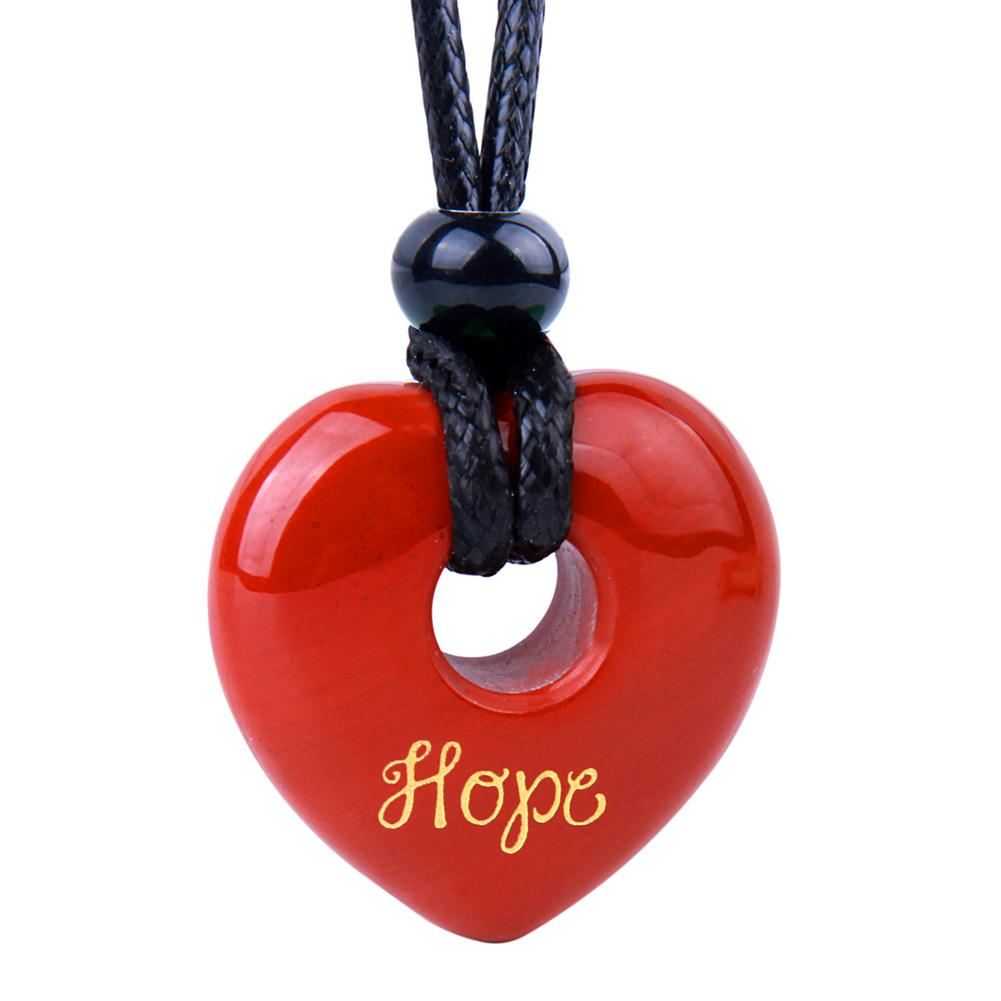 Magic Inspirational Lucky Heart Donut Charm Hope and Love Powers Red Jasper Necklace