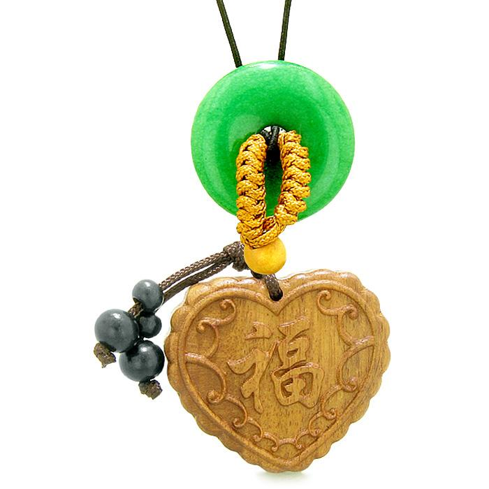 Fortune Heart Magic Car Charm Home Decor Green Quartz Lucky Coin Donut Protection Powers Amulet