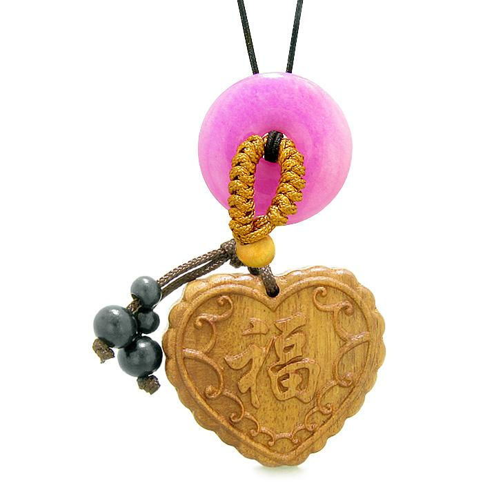 Fortune Heart Magic Car Charm Home Decor Hot Pink Quartz Lucky Coin Donut Protection Powers Amulet