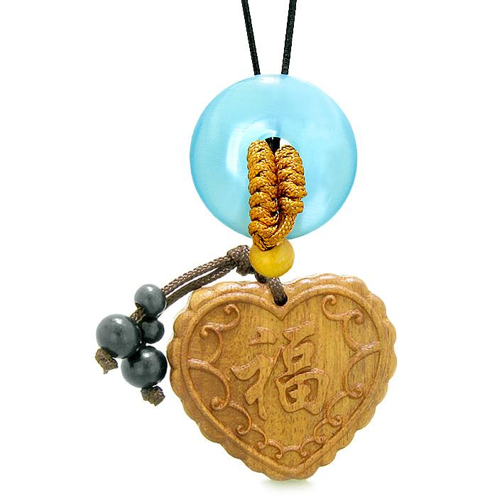 Fortune Heart Magic Car Charm Home Decor Blue Simulated Cats Eye Lucky Coin Donut Protection Amulet