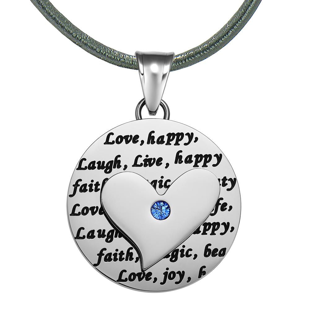 Adorable Heart Inspirational Medallion Live Love Laugh Faith Amulet Royal Blue Crystal Leather Necklace