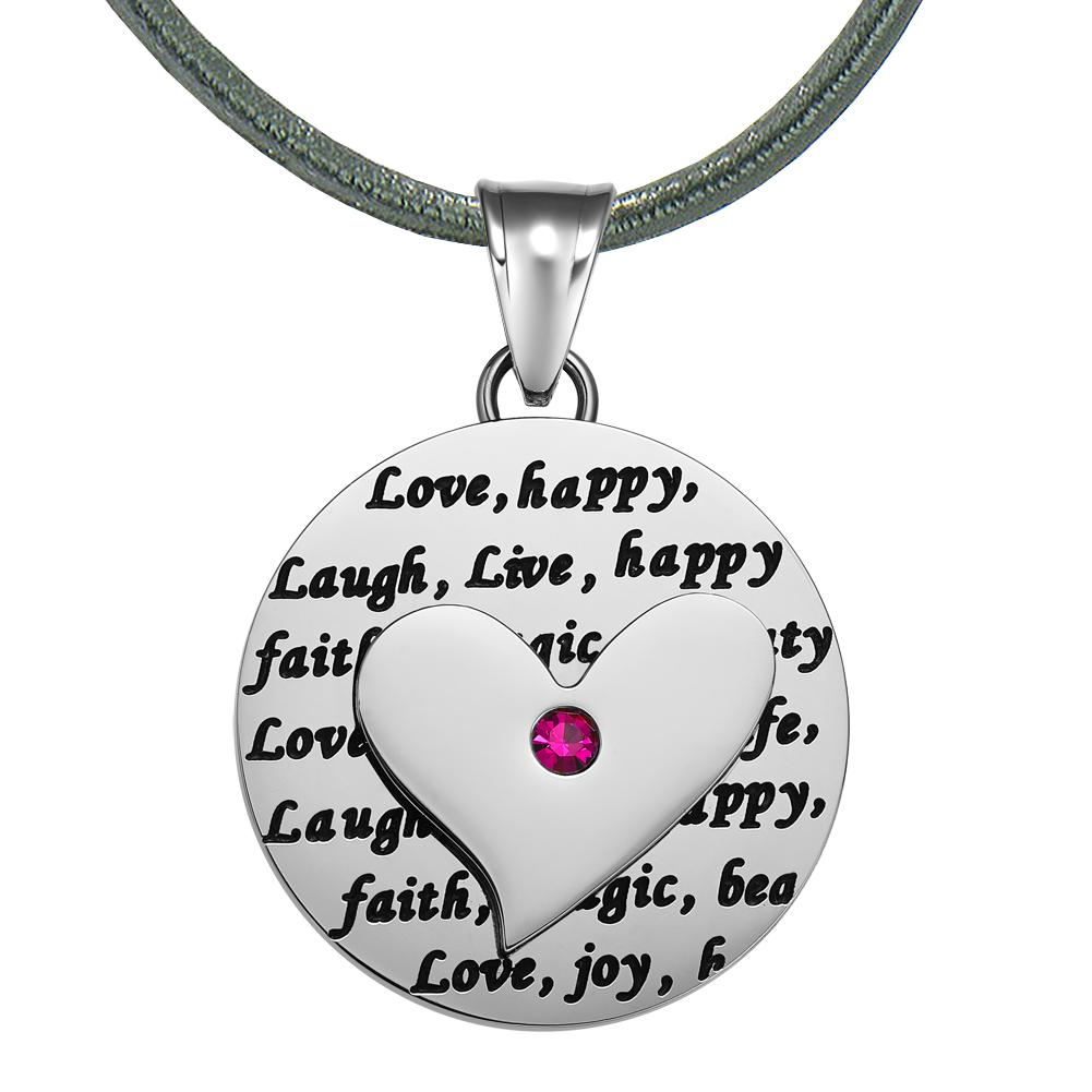 Adorable Heart Inspirational Medallion Live Love Laugh Faith Amulet Fuchsia Pink Crystal Leather Necklace