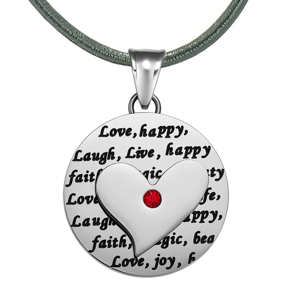 Adorable Heart Inspirational Medallion Live Love Laugh Faith Amulet Royal Red Crystal Leather Necklace